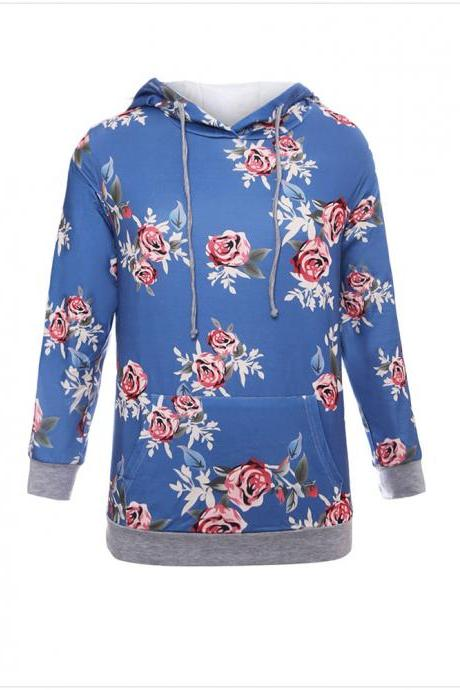 New Women Casual Flower Print Hooded shirts Floral Long-sleeved Shirt