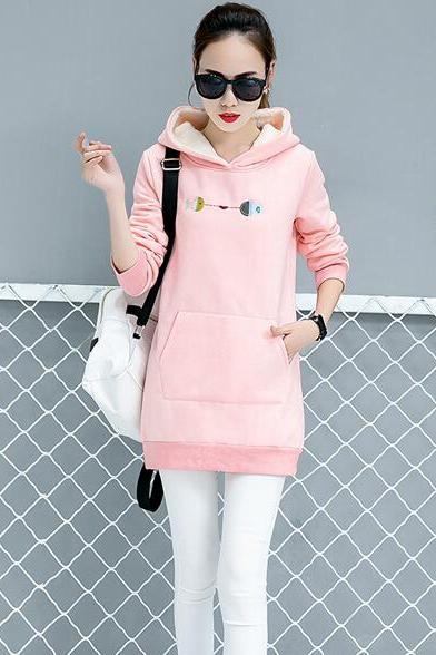 Womens Hooded Pocket Top Ladies Fashion Striped Long Shirt - Pink