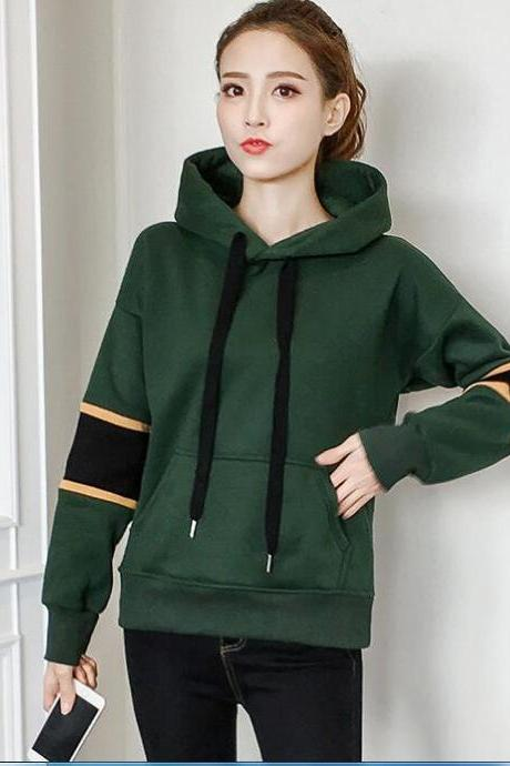 New Autumn Women Amy Green Casual Hooded Shirt