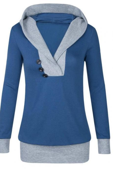 Autumn Patchwork Hooded Shirt Women Womens Long Sleeves Shirt Casual Woman Clothing - Blue