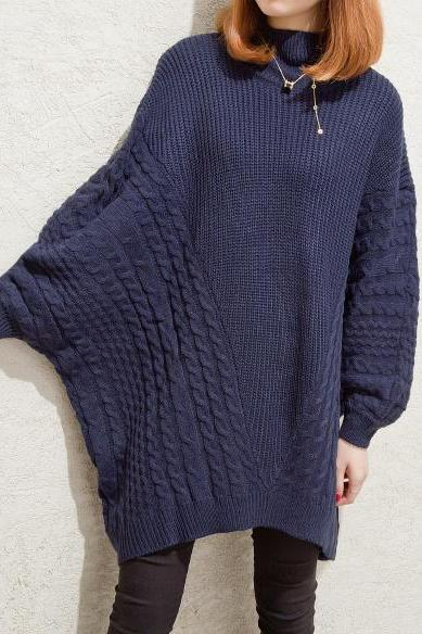 Women Long Batwing Sleeve Loose Sweater Pullover Tops - Dark Blue