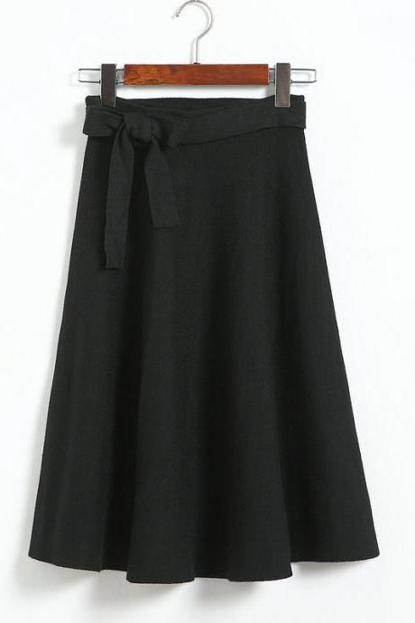 High Waist Solid Bow A Line Skirt - Black