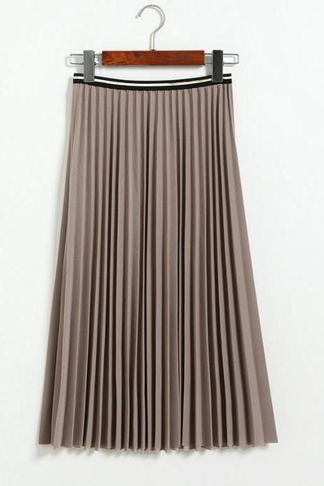 Fshion Women Pleated Skirt - Khaki