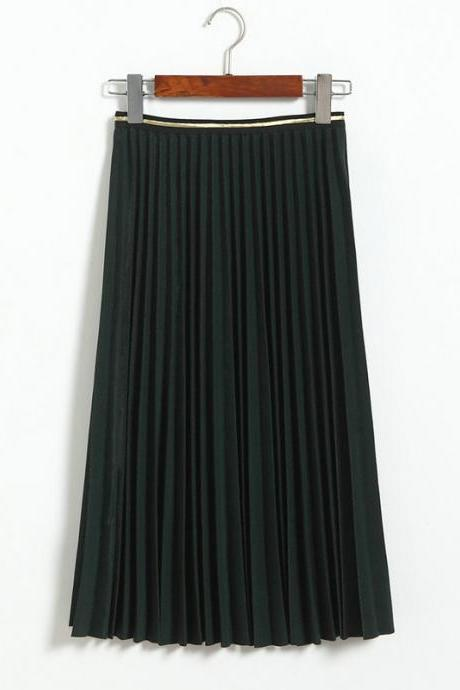 Fshion Women Pleated Skirt - Dark Green