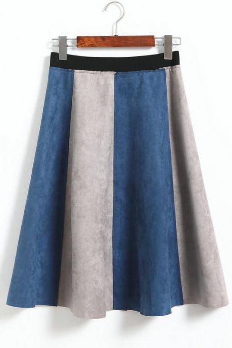 Retro Patchwork High Waisted A-Line Skirt - Blue