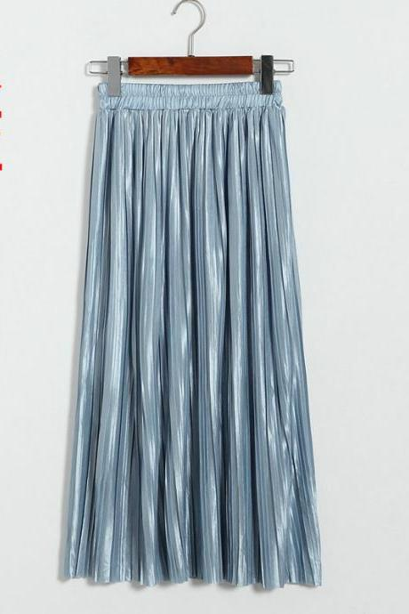 New Long Autumn Women Solid Pleated Skirt - Light Blue