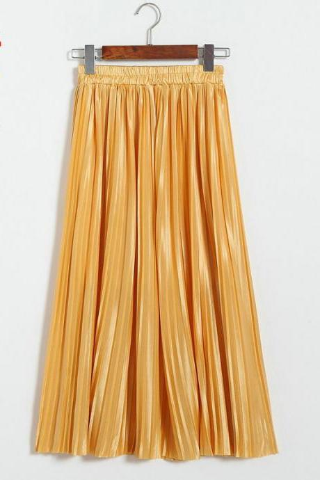 New Long Autumn Women Solid Pleated Skirt - Yellow