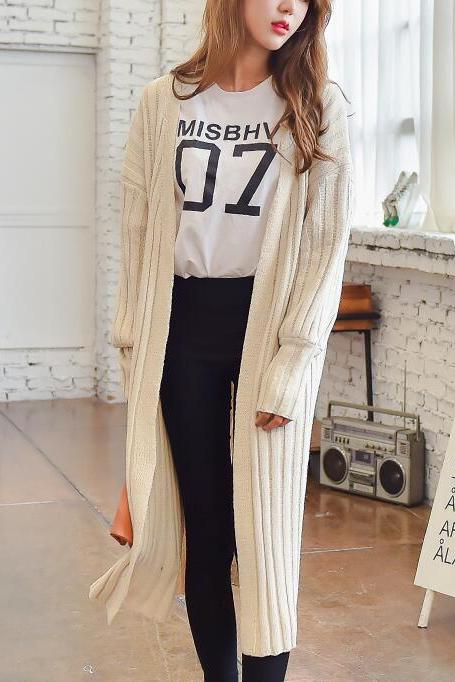 Autumn Women Long Cardigan Sweater - Beige