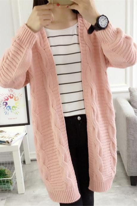 Pink Color Autumn Women Long Cardigan