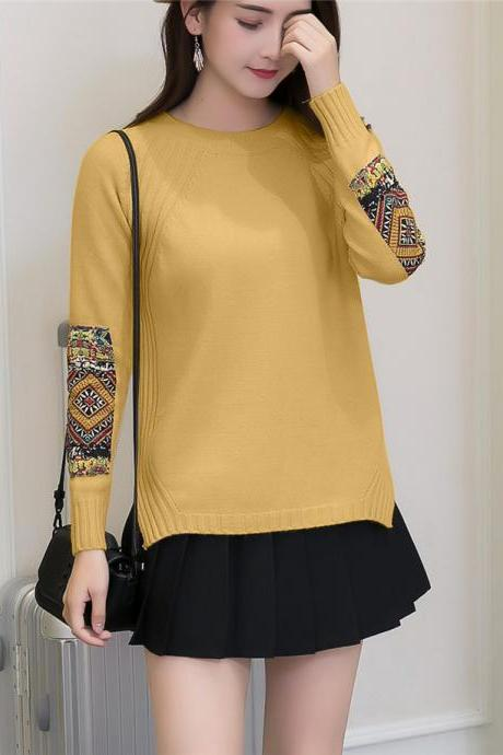 Women Fashion Round Neck Patchwork Sleeve Knitted Pullover Sweater Coat - Khaki