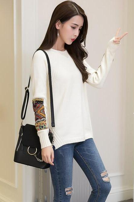 Women Fashion Round Neck Patchwork Sleeve Knitted Pullover Sweater Coat - White