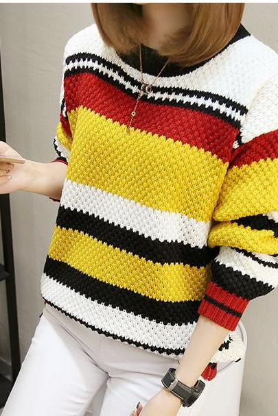 Striped Knitted Round Neck Sweater - Yellow