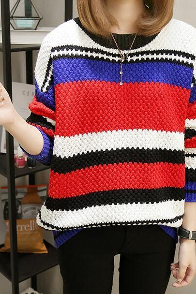 Striped Knitted Round Neck Sweater - Red