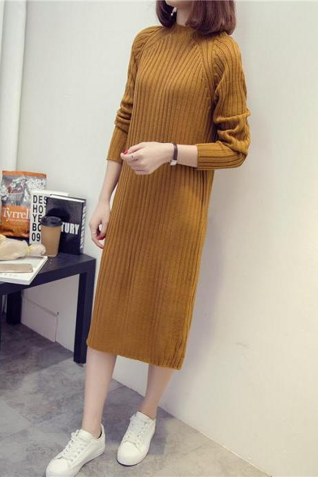 New Style Long Knitted Sweater Dress - Khaki