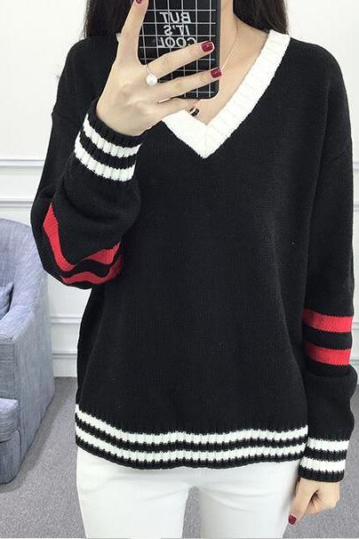 New Women V Neck Knitted Sweater - Black