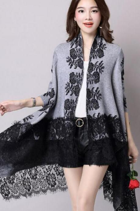 New Fashion Autumn Winter Printing Loose Casual Lace Cardigan - Grey
