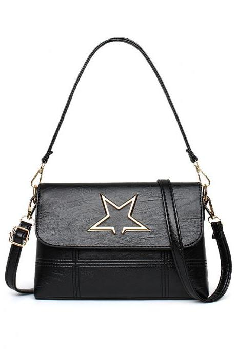 Leather Star Pattern Mini handbag Shoulder Bag - Black
