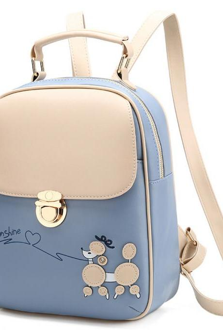 Cute PU Leather Backpacks For Women - Blue