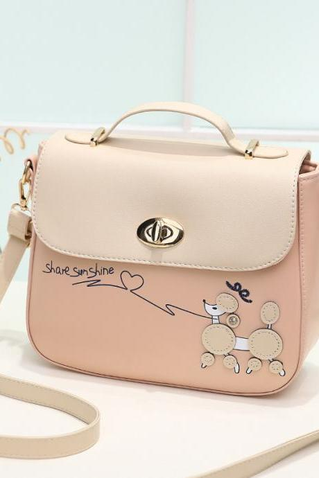 Sweet PU Leather Handbag Shoulder Bag - Pink