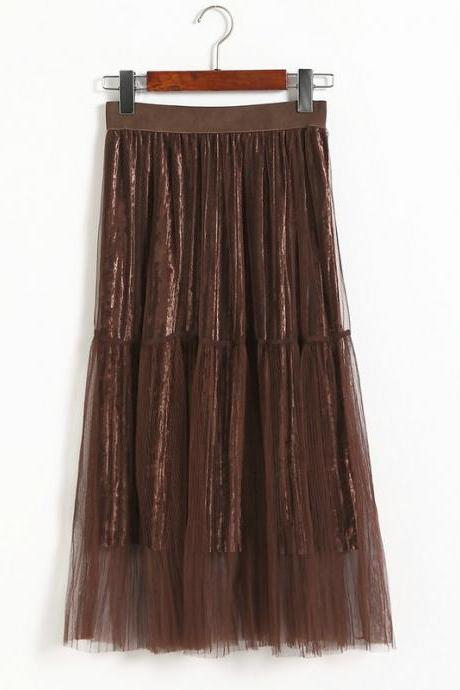 New Fashion Women Casual Gauze A Line Skirt - Khaki