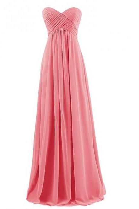 Strapless Plus Size Bridesmaid Dresses Long For Wedding Guests Sister Party Dress Chiffon Prom Dress - Watermelon red