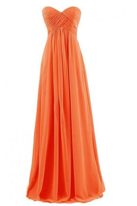 Strapless Plus Size Bridesmaid Dresses Long For Wedding Guests Sister Party Dress Chiffon Prom Dress - Orange