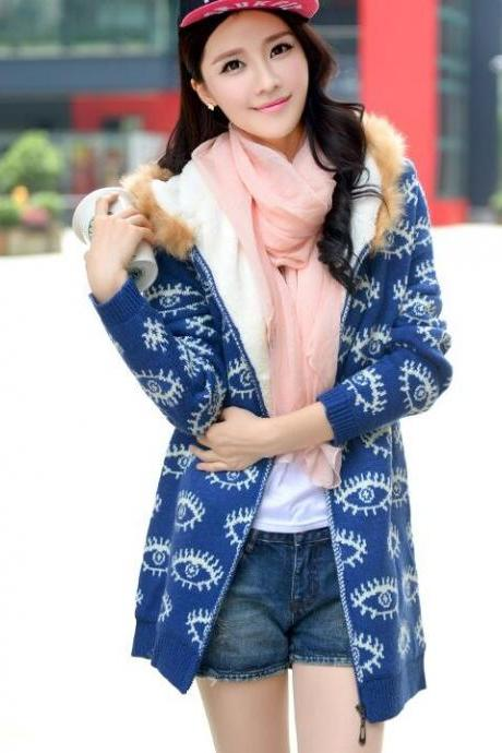 New Winter Women Sweater coat Long Sleeve Hooded Knitted Cardigan Women Sweater Warm Slim - Blue