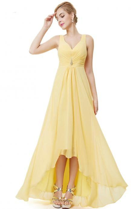 Formal Bridesmaid Dresses Double V Neck Rhinestones Long Wedding Dresses - Yellow