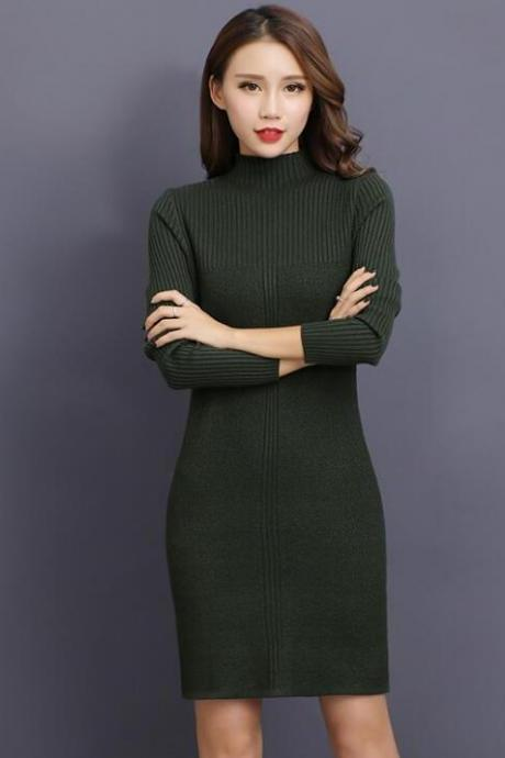 Stylish Knitted Sweater Dress in Amy Green