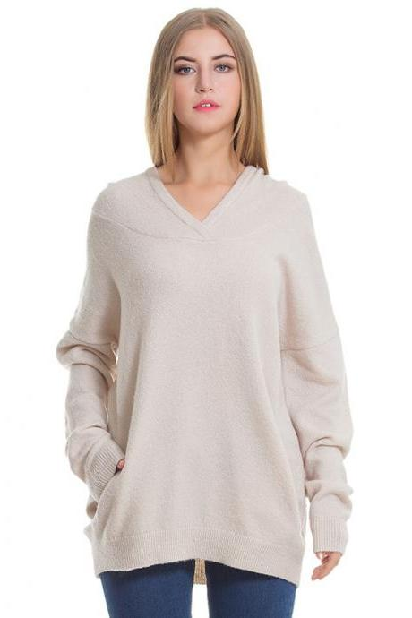 New V Neck Loose Long Sleeve Hooded Sweater