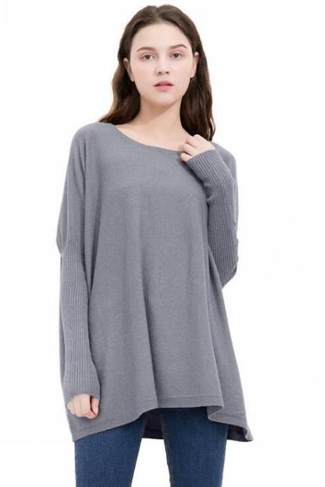 Grey Knit Bateau Neck Long Sleeves Sweater