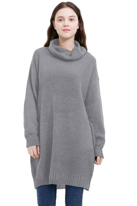 Fashion High Neck Long Sleeve Loose Sweater Dress - Grey