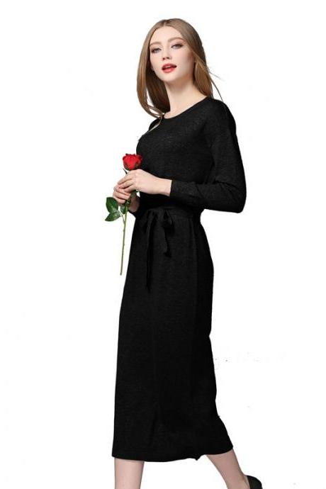 New Warm Knit Women Sweater Dress Solid Autumn Winter Loose Pockets Dress - Black