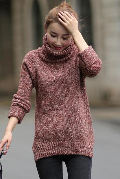 Turtleneck Knitted Pullover Sweater - Red