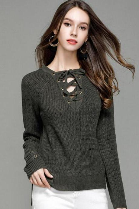 Sexy Knitting Pullover Fashion Hollow Sweater - Amy Green