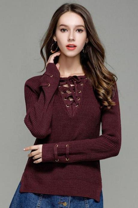Burgundy Knitted Lace-Up Plunge V Sweater Featuring Long Sleeves and Slits