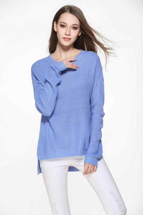 Fashion Casual Loose Knitting Pullover Sweater - Blue
