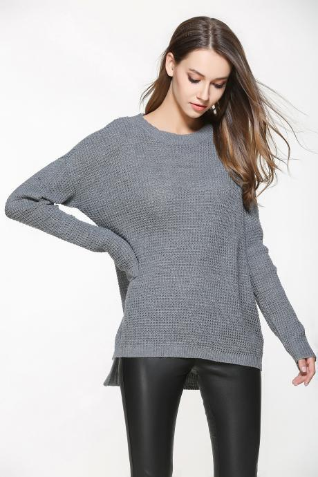 Grey Knitted Crew Neck Long Cuffed Sleeves Sweater Featuring High Low Hem and Slits