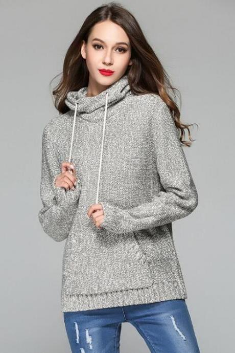 Knitted Hooded Long Cuffed Sleeves Sweater