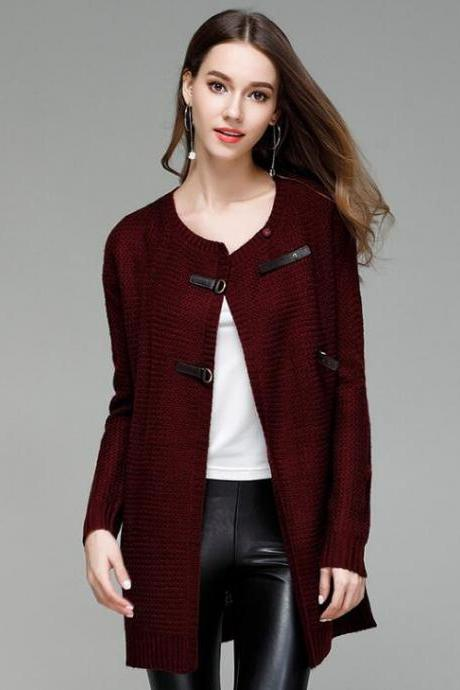 Fashion Solid Knit Cardigan Sweater Coat - Wine Red