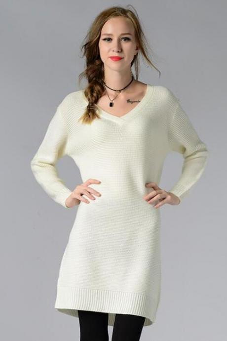 Knitted Plunge V Long Cuffed Sleeves Short Sweater Dress