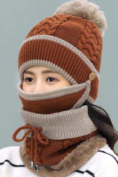 Fashion Winter Hedging Cap Scarf Suit Knit Hats - Coffee