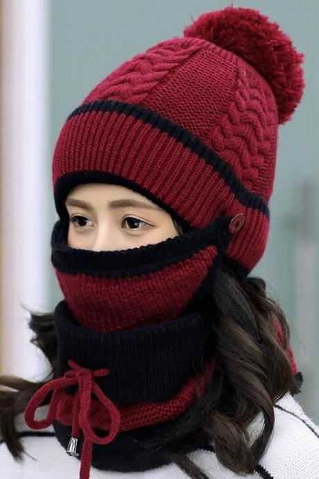 Fashion Winter Hedging Cap Scarf Suit Knit Hats - Wine Red