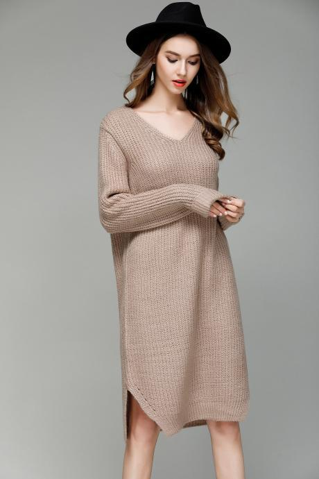 New Long V Collar Loose Big Size Knitted Sweater Dress - khaki