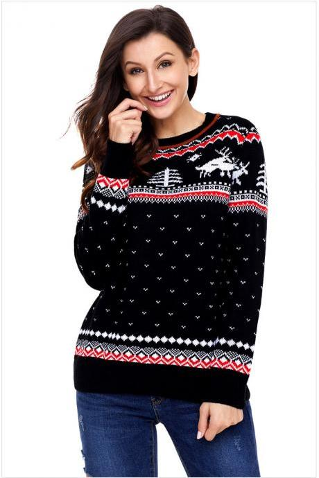 Autumn and Winter Christmas Long Sleeve Knit Sweaters - Black