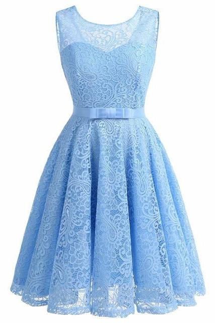 Women Sleeveless Lace Party Dress A-Line Dress - Light Blue