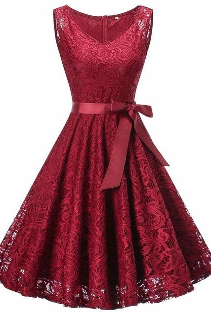 Women V Neck Sleeveless Lace Party A Line Dress - Wine Red