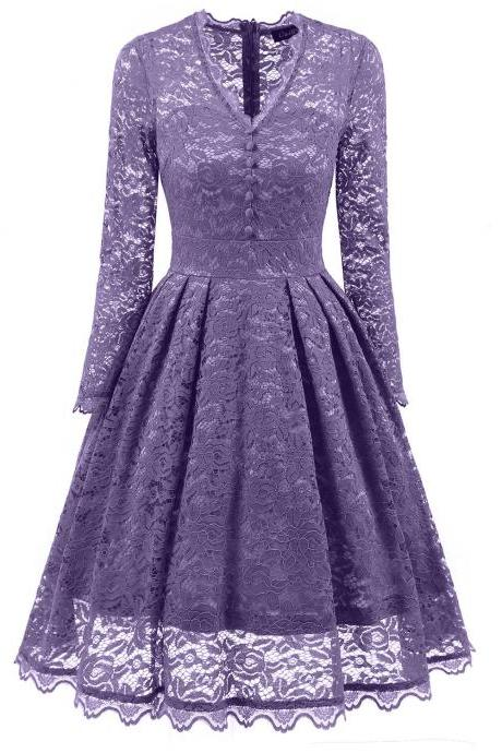 Purple V-Neck Floral Lace A-Line Short Dress with Long Sleeves , Homecoming Dress, Cocktail Dresses, Graduation Dresses