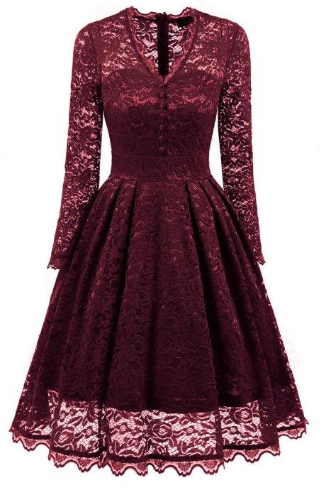 Red V-Neck Floral Lace A-Line Short Dress with Long Sleeves , Homecoming Dress, Cocktail Dresses, Graduation Dresses
