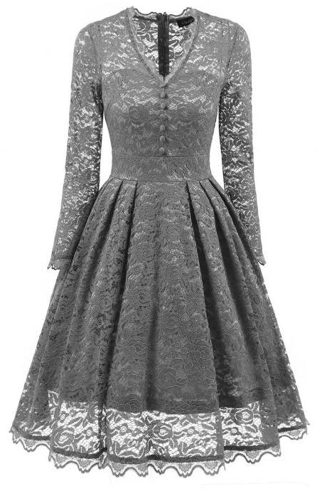 Grey V-Neck Floral Lace A-Line Short Dress with Long Sleeves , Homecoming Dress, Cocktail Dresses, Graduation Dresses
